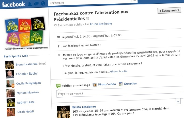 facebook contre l'abstention aux presidentielles